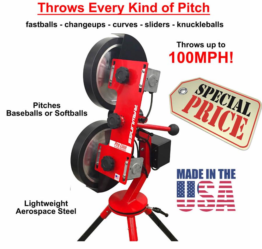 Home gt pitching machines rawlings pro line 2 wheel pitching machine
