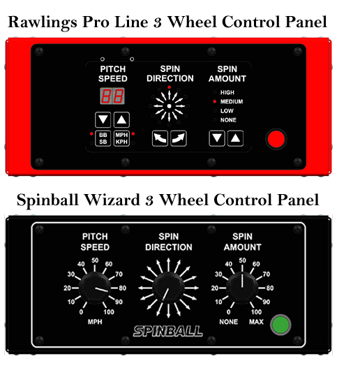 Rawlings/Spinball 3 wheel control panels