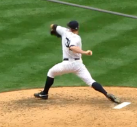 Pitcher pushing off the mound