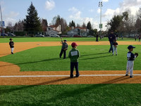 Little League players in the field