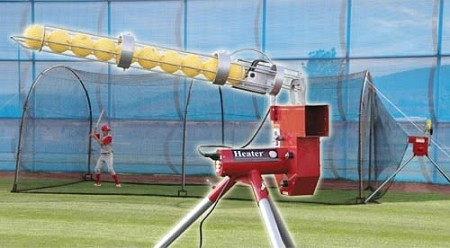 Heater Real Baseball Pitching Machine and Xtender 24' Batting Cage