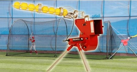 Heater Combo Pitching Machine and Xtender 24' Batting Cage