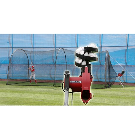 Heater Jr. Baseball Pitching Machine and Xtender 24' Batting Cage