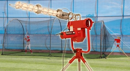 Heater Pro Curveball Pitching Machine and Xtender 24' Batting Cage